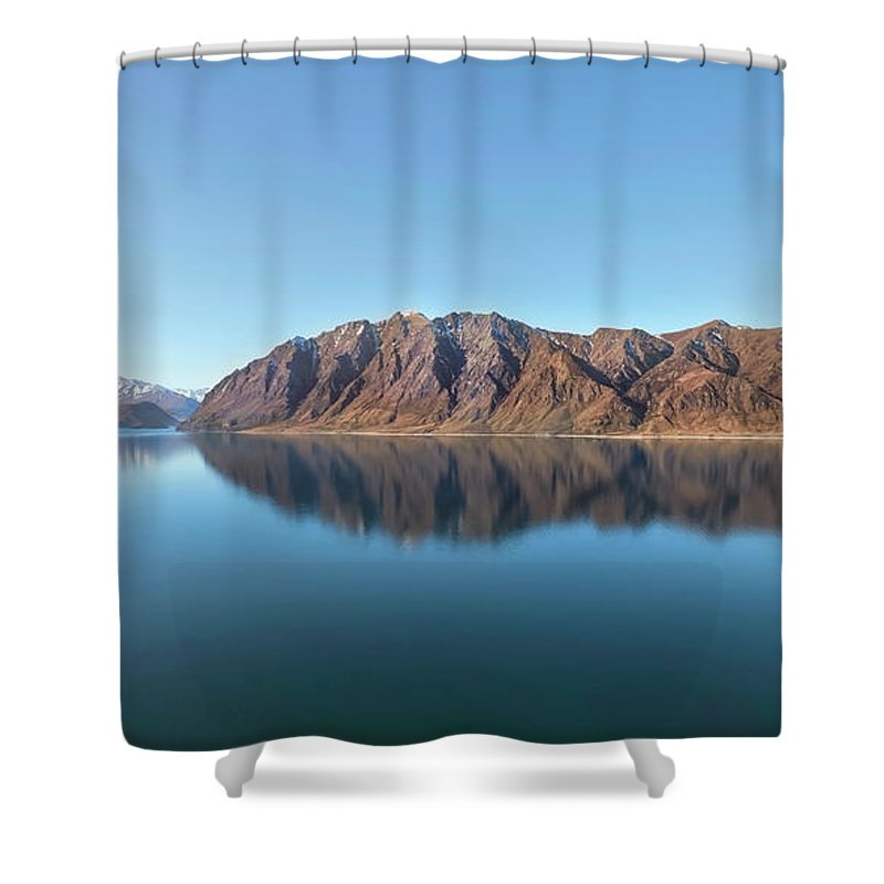 Scenics Shower Curtain featuring the photograph Mountain Reflected On Lake Hawea by Verity E. Milligan