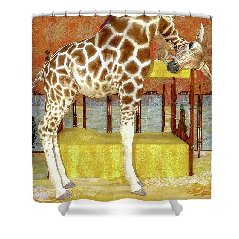 Giraffe Shower Curtain featuring the digital art Ms Kitty And Her Giraffe by Betsy Knapp