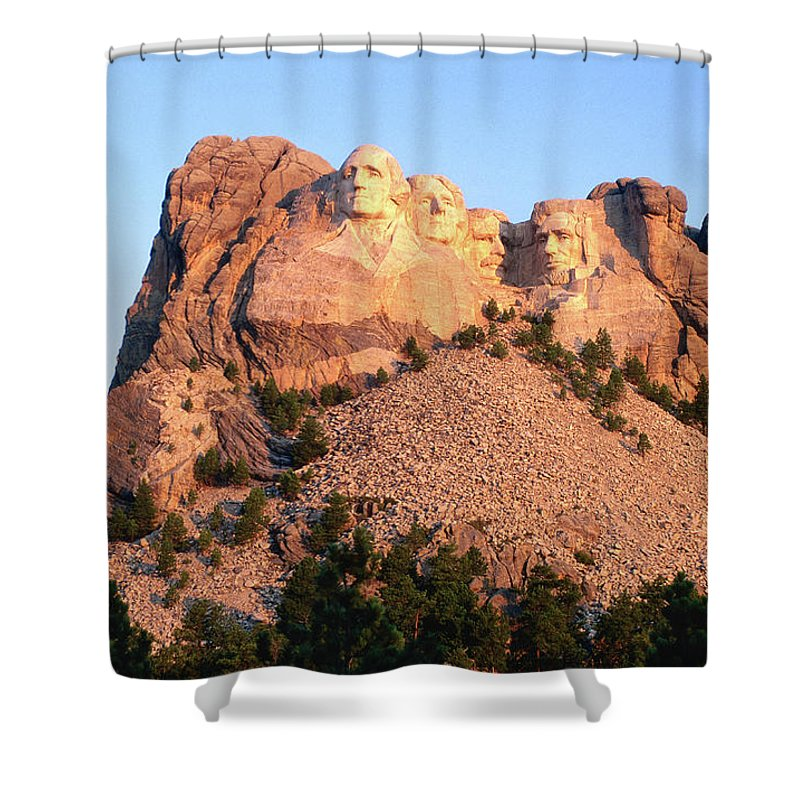 Mt Rushmore National Monument Shower Curtain featuring the photograph Mt Rushmore Memorial Carvings by John Elk