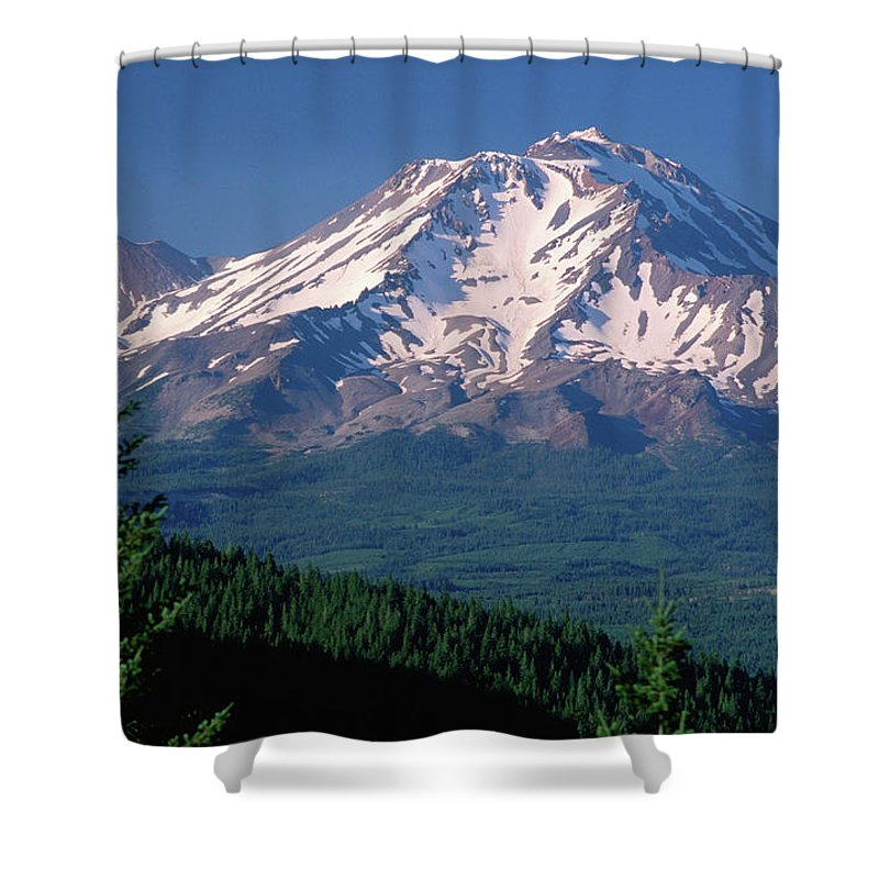 Toughness Shower Curtain featuring the photograph Mt Shasta Across Lake Siskiyou, Mt by John Elk Iii