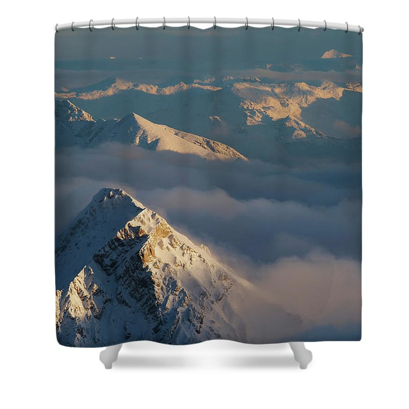 Scenics Shower Curtain featuring the photograph Mt. Zugspitze 6 - Bavaria Germany by Wingmar