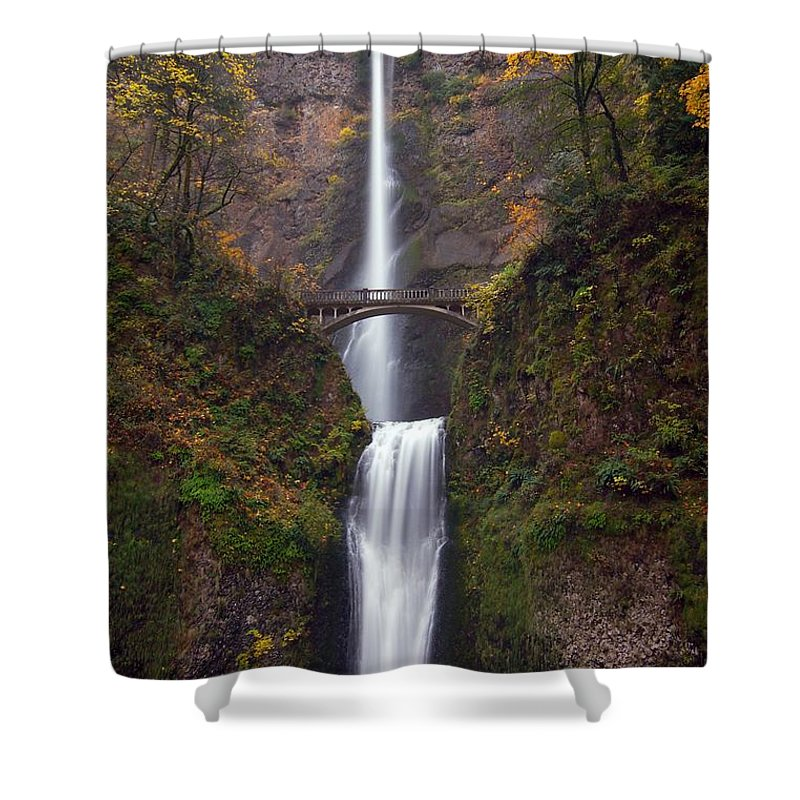 Scenics Shower Curtain featuring the photograph Multnomah Falls by Ted Ducker Photography