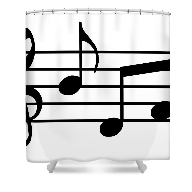 Sheet Music Shower Curtain featuring the digital art Music Notes In Black And White by Comstock