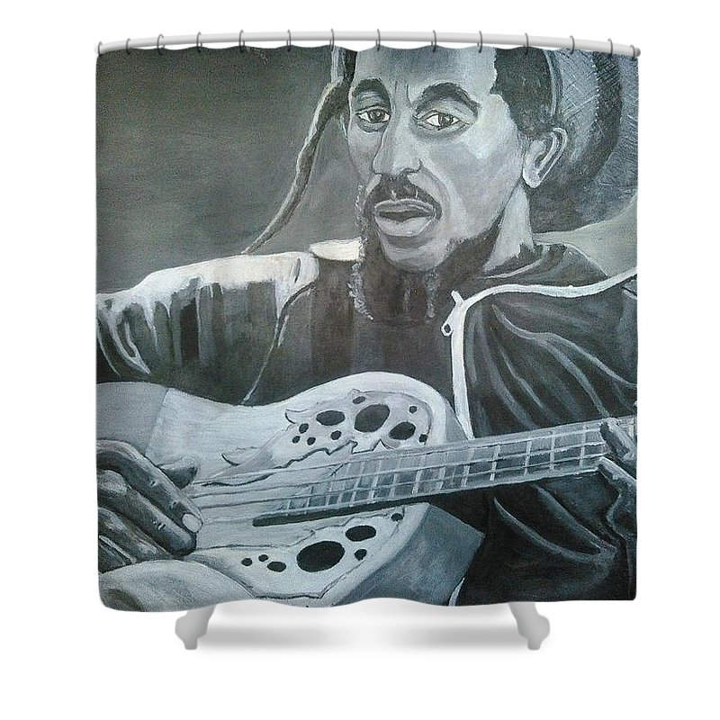 Bob Marley Painting Shower Curtain featuring the painting Musical Man by Andrew Johnson