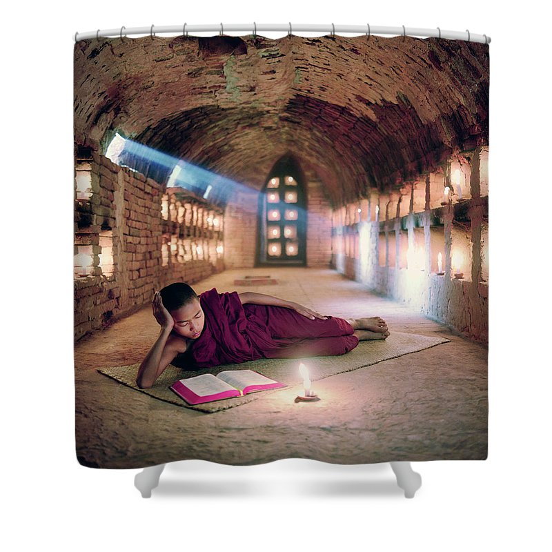 Child Shower Curtain featuring the photograph Myanmar, Buddhist Monk Inside by Martin Puddy