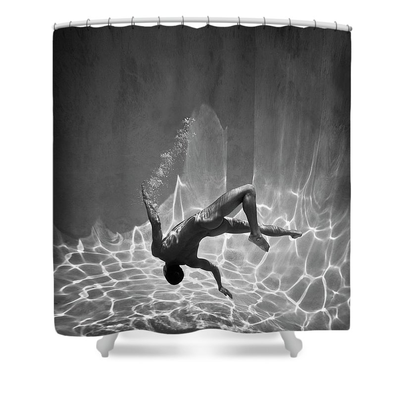 Underwater Shower Curtain featuring the photograph Naked Man Underwater by Ed Freeman