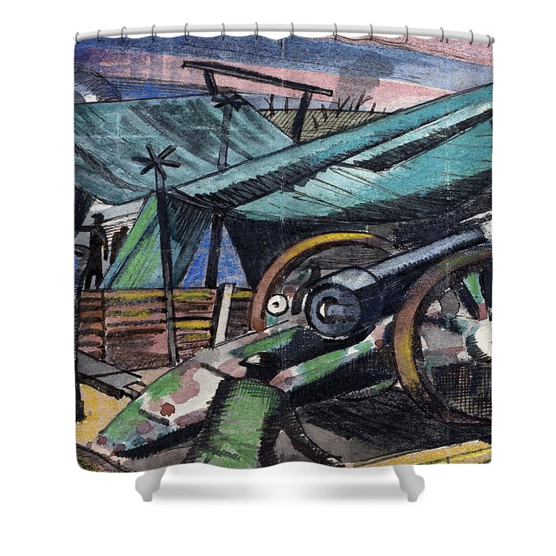 B1019 Shower Curtain featuring the painting A Howitzer Firing, 1918 by Paul Nash