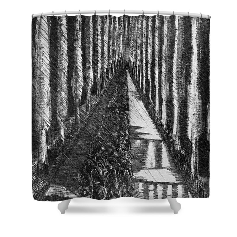 B1019 Shower Curtain featuring the drawing Men Marching At Night, 1918 by Paul Nash