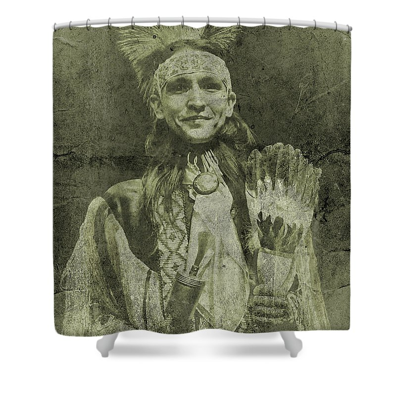 Black &white Vintage American Indian Photograph Shower Curtain featuring the photograph Native American Dancer by Joan Reese