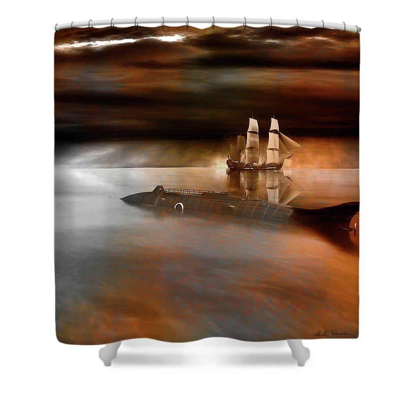 Submarine Shower Curtain featuring the digital art Nautilus by Michael Cleere