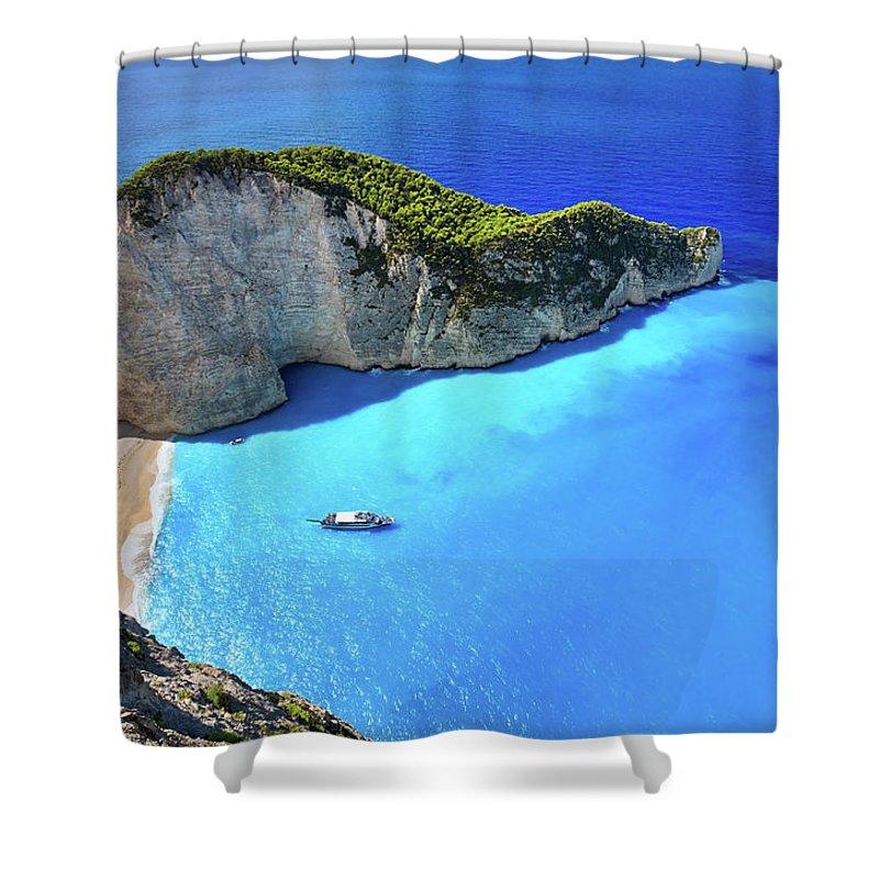 Extreme Terrain Shower Curtain featuring the photograph Navagio Beach, Zakynthos Island, Greece by Rusm