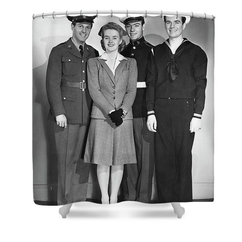 People Shower Curtain featuring the photograph Navy, Marine, Army Officers by George Marks