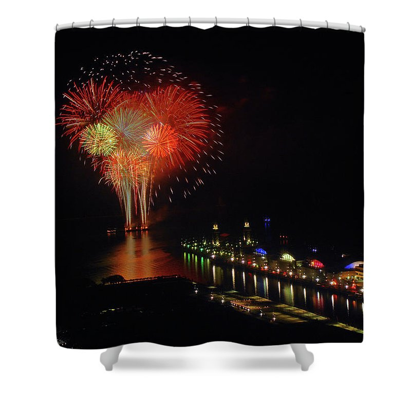 Firework Display Shower Curtain featuring the photograph Navy Pier Fireworks by Image By Douglas R. Siefken