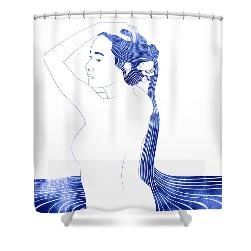 Shower Curtain featuring the mixed media Nesaie by Stevyn Llewellyn