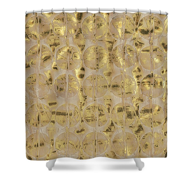 Embellished Shower Curtain featuring the painting Neutral Andaman I by Ren?e W. Stramel