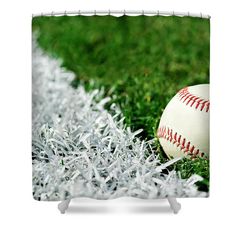 Grass Shower Curtain featuring the photograph New Baseball Along Foul Line by Cmannphoto