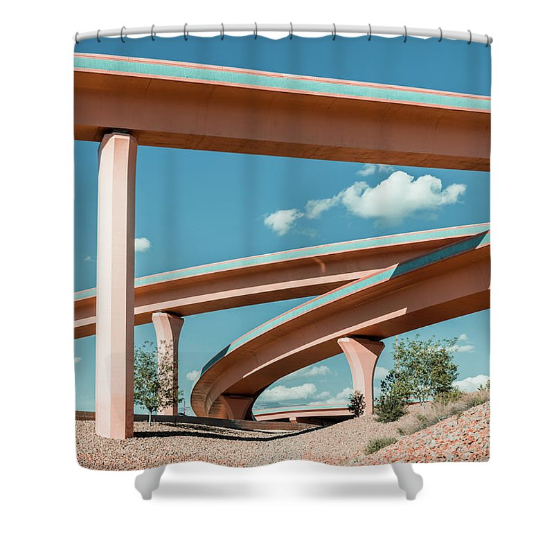 Autobahn Shower Curtain featuring the photograph New Mexico Albuquerque Interstate by Mlenny