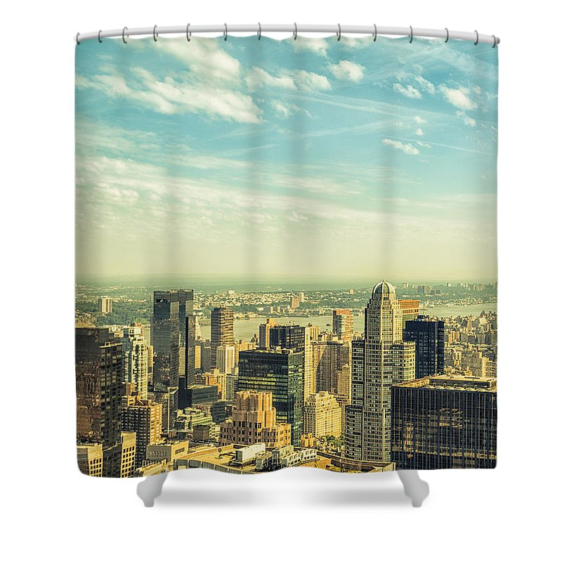 Lower Manhattan Shower Curtain featuring the photograph New York City Skyline With Central Park by Franckreporter