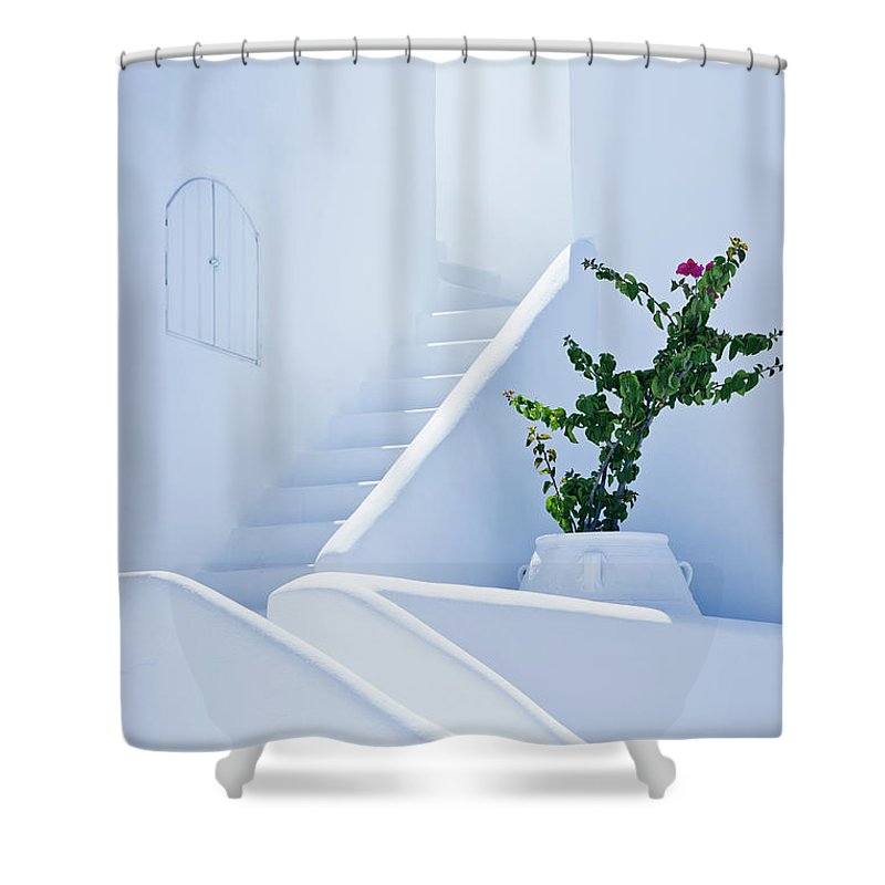 Steps Shower Curtain featuring the photograph Nice White Stairs In Oia Village by Mbbirdy