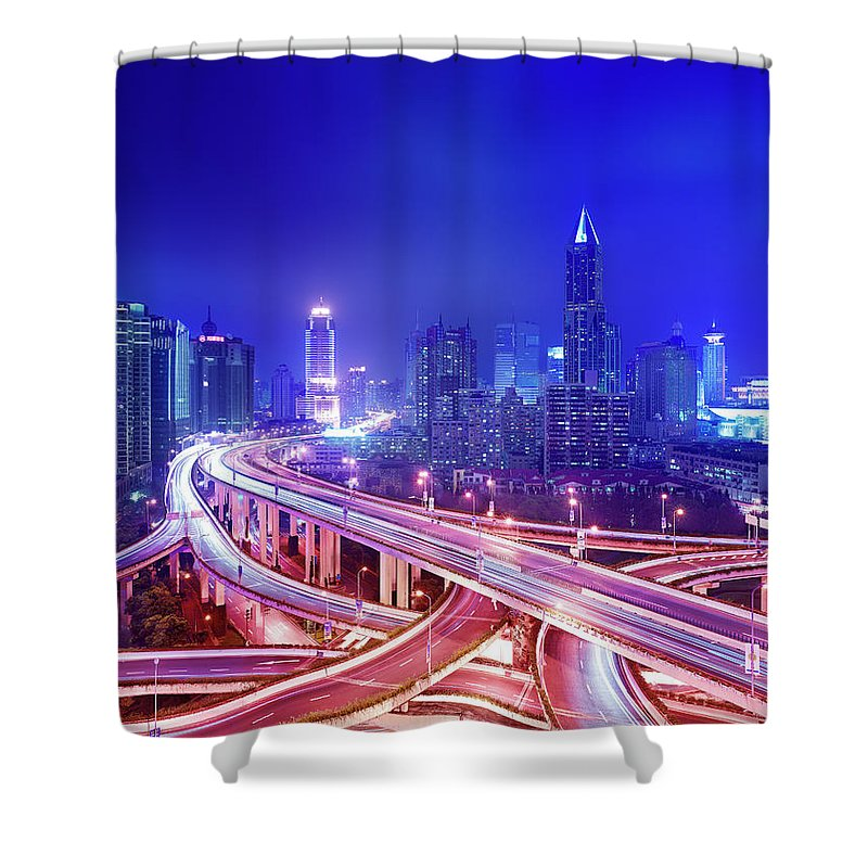 Blurred Motion Shower Curtain featuring the photograph Night View Of A Six-level Interchange by Xpacifica