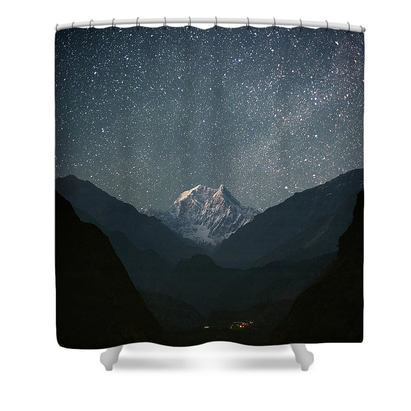 Himalayas Shower Curtain featuring the photograph Nilgiri South 6839 M by Anton Jankovoy