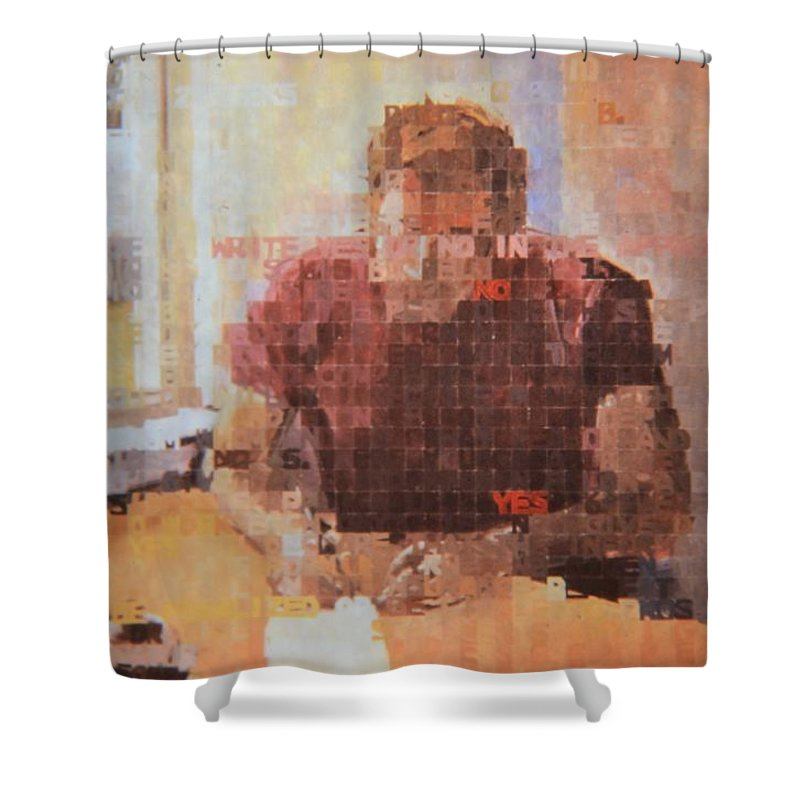 No Shower Curtain featuring the painting No, No, No, No, Yes, Yes by Norman Burnham