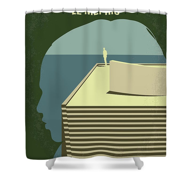 Le Shower Curtain featuring the digital art No1098 My Le Mepris Minimal Movie Poster by Chungkong Art