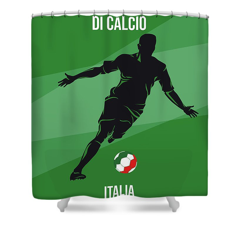 World Shower Curtain featuring the digital art No14 My 1990 Italia Soccer World Cup Poster by Chungkong Art