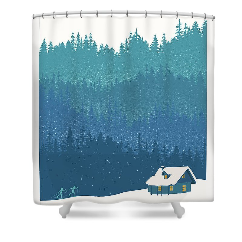 Nordic Ski Shower Curtain featuring the painting Nordic Cross Country Winter Ski Scene by Sassan Filsoof