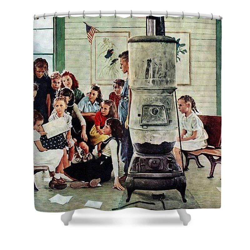Book Shower Curtain featuring the drawing Norman Rockwell Visits A Country School by Norman Rockwell