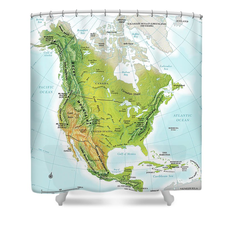 Compass Rose Shower Curtain featuring the digital art North America Continent Map, Relief by Globe Turner, Llc