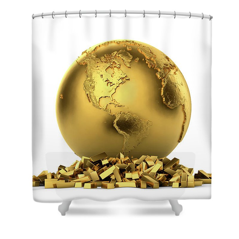 White Background Shower Curtain featuring the digital art North And South America With Gold Bars by Bjorn Holland