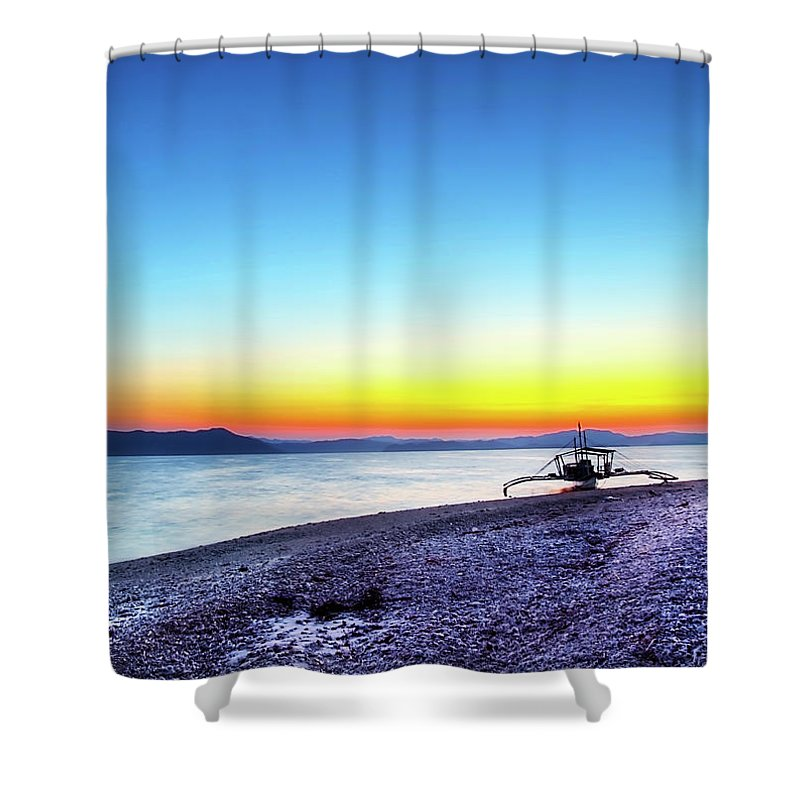 Water's Edge Shower Curtain featuring the photograph North Cay Island, Palawan, Philippines by Tomasito!
