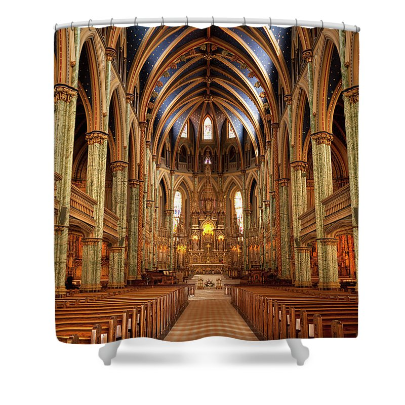 Arch Shower Curtain featuring the photograph Notre Dame Cathedral Ottawa by Pgiam
