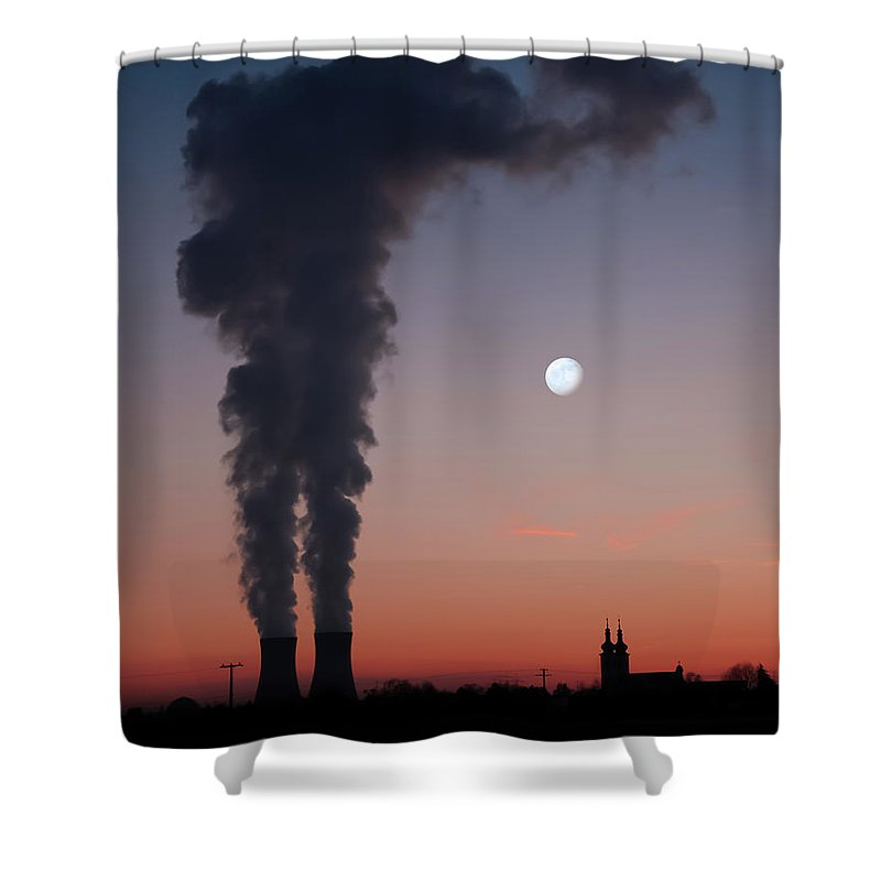 Air Pollution Shower Curtain featuring the photograph Nuclear Power Station In Bavaria by Michael Kohaupt