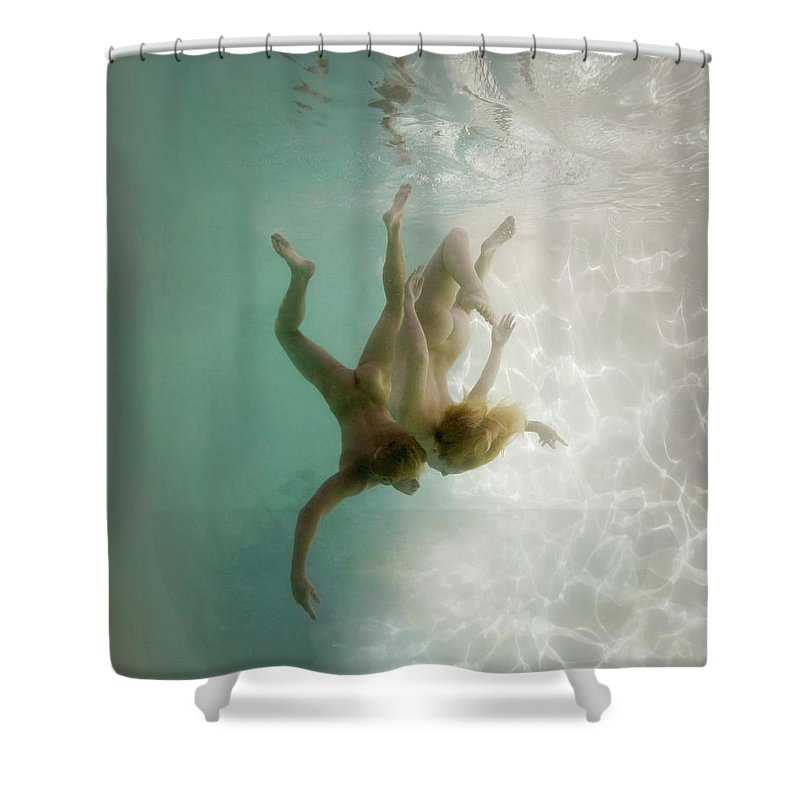 Young Men Shower Curtain featuring the photograph Nude Man And Woman Underwater by Ed Freeman