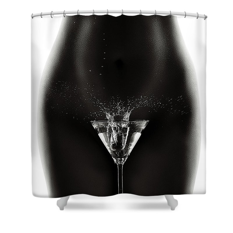 Woman Shower Curtain featuring the photograph Nude Woman With Martini Splash by Johan Swanepoel