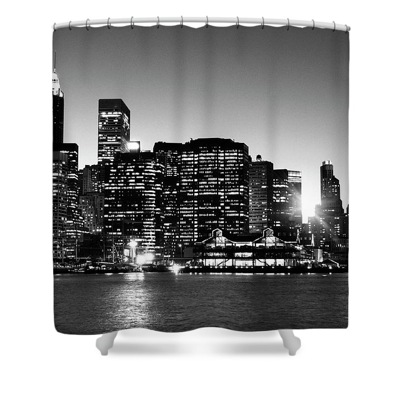 Lower Manhattan Shower Curtain featuring the photograph Nyc Skyline At Sunset by Lisa-blue