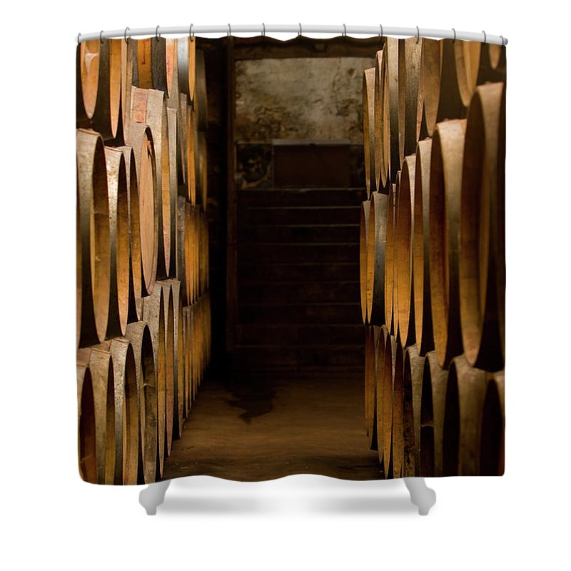 Alcohol Shower Curtain featuring the photograph Oak Barrels At The Wine Cellar by Kycstudio