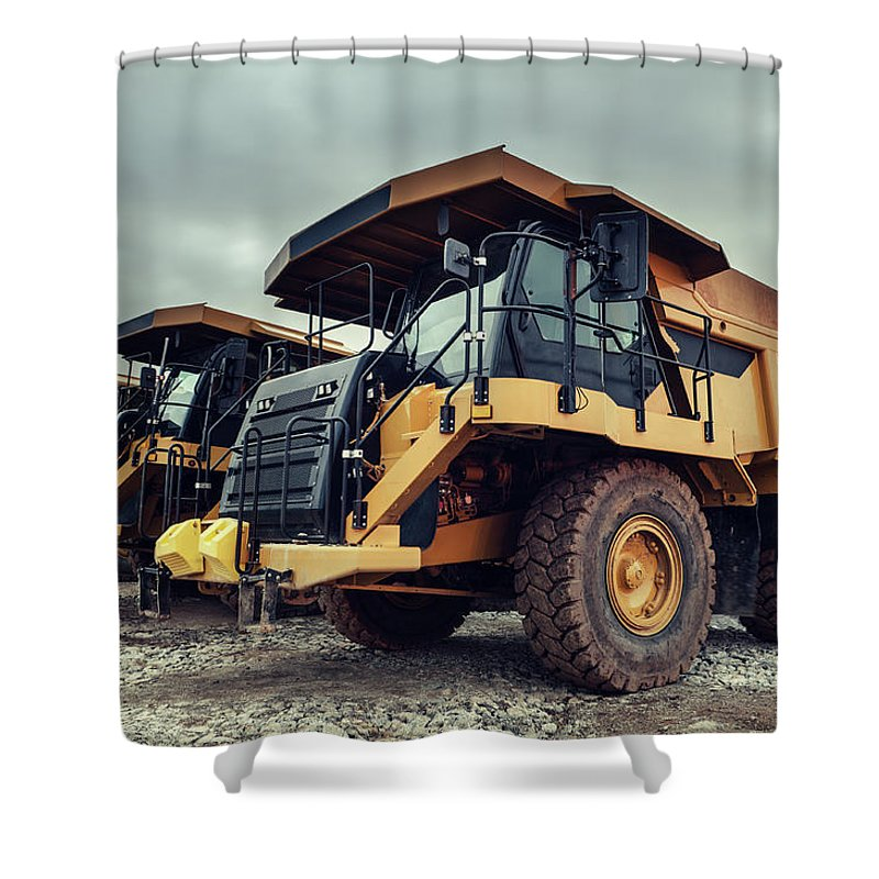 Construction Machinery Shower Curtain featuring the photograph Off-highway Dump Trucks by Shaunl