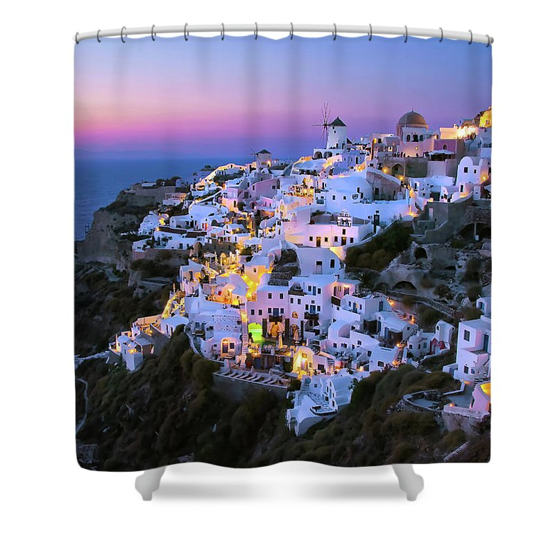 Greek Culture Shower Curtain featuring the photograph Oia Lights At Sunset by Greg Gibb Photography