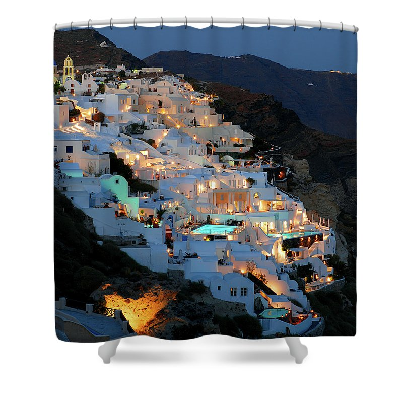 Tranquility Shower Curtain featuring the photograph Oia, Santorini Greece At Night by Marcel Germain