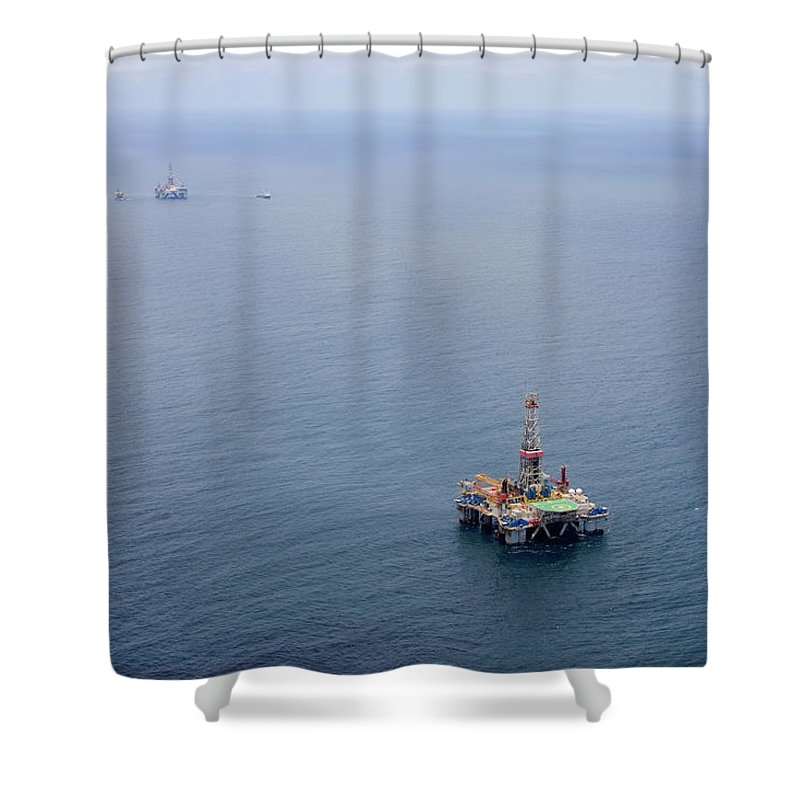 Convoy Shower Curtain featuring the photograph Oil Rigs by Heliry