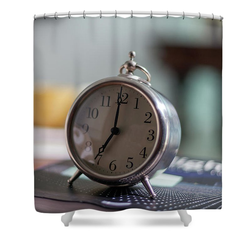 Madrid Shower Curtain featuring the photograph Old Alarm Clock by Julio Lopez Saguar