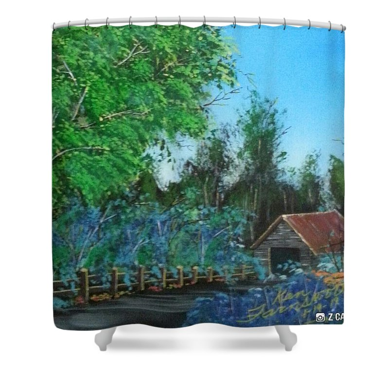 Landscape Shower Curtain featuring the painting Old Barn by Ken Farnsworth