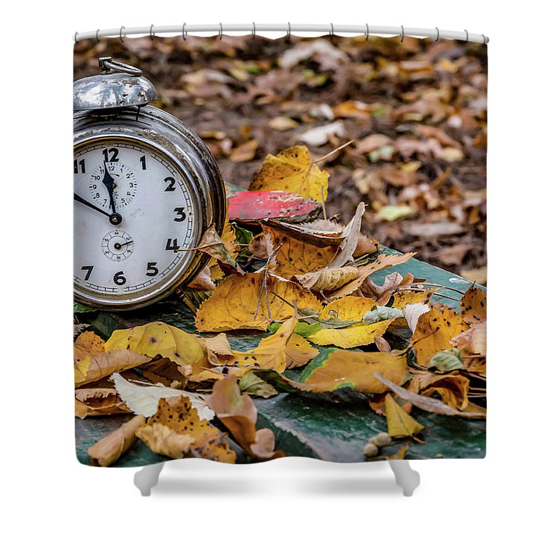 Old Clock On Autumn Leaves Shower Curtain For Sale By Julian Popov