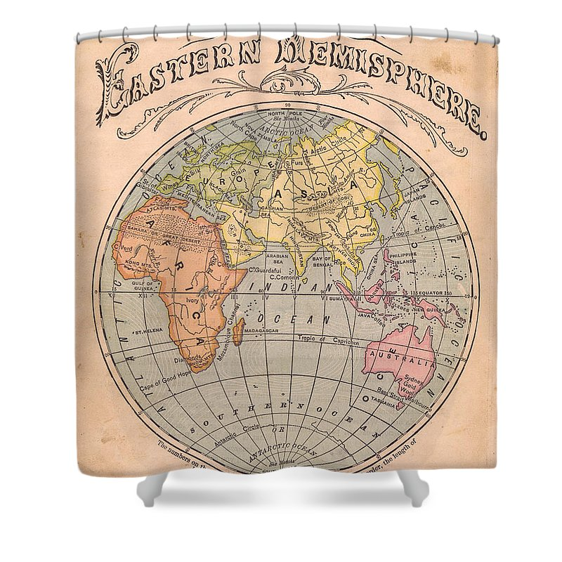 Arabia Shower Curtain featuring the photograph Old, Color Map Of The Eastern by Ideabug
