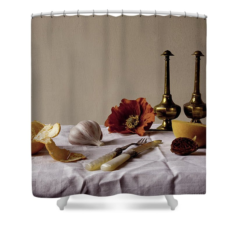 Orange Shower Curtain featuring the photograph Old Kitchen Still Life by Pch
