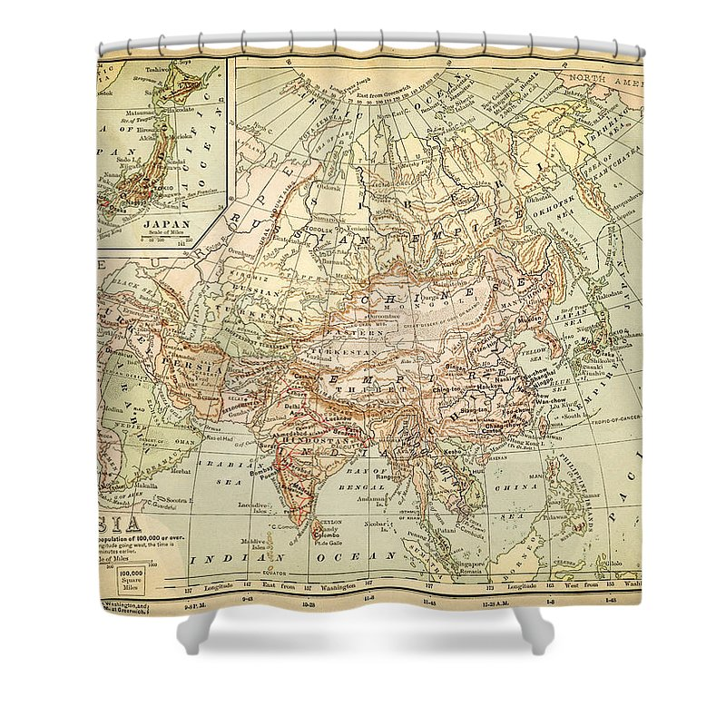 Burnt Shower Curtain featuring the digital art Old Map Of Asia by Thepalmer