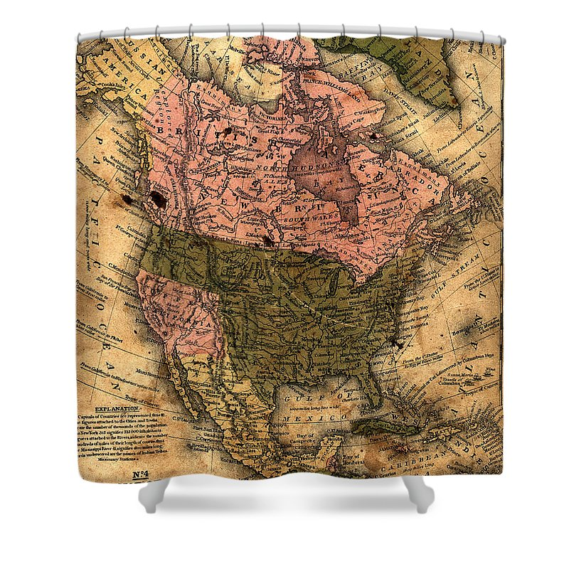 Outdoors Shower Curtain featuring the photograph Old North America Map by Belterz